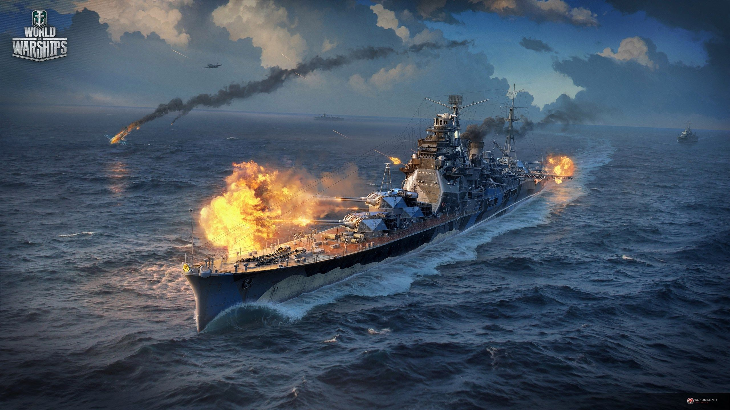 Widescreen Wallpaper World Of Warships 2560x1440 648 Kb World Of Warships Wallpaper Warship Warship Games