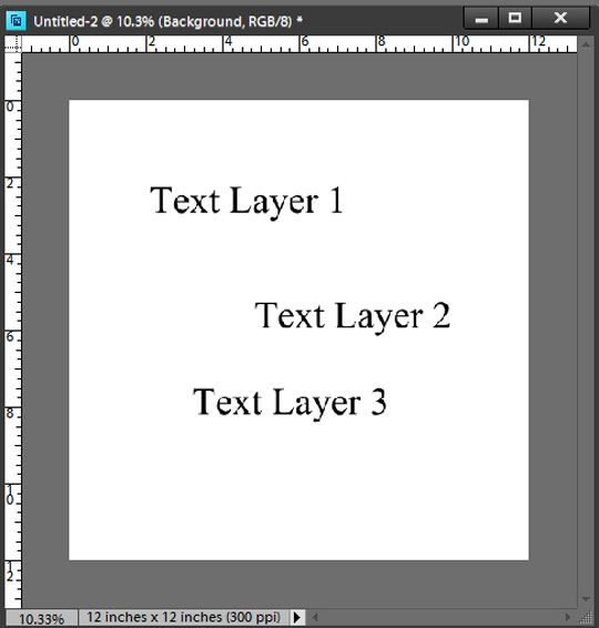Align text layers photoshop