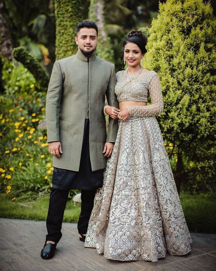 Trending Color Brides In Grey Wedding Outfits Look Shinier Than The Stars Groom Dress Men Couple Wedding Dress Wedding Dresses Men Indian
