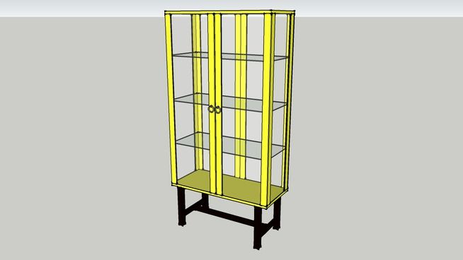 Large Preview Of 3d Model Of Stockholm Glass Door Cabinet Yellow