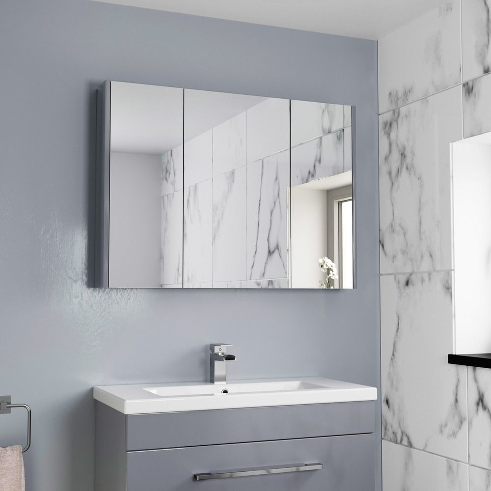 Aurora Grey Gloss 3 Door Mirror Cabinet 900mm Width Large Bathroom Mirrors Bathroom Mirror Cabinet Mirror Cabinets