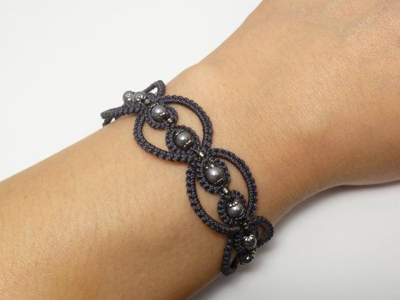 Tatted Lace Bracelet in Charcoal with glass and by SnappyTatter, $15.00