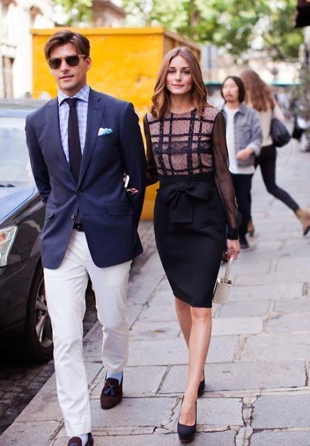 #Olivia Palermo #Couple #Skirt #StreetStyle #Fashion