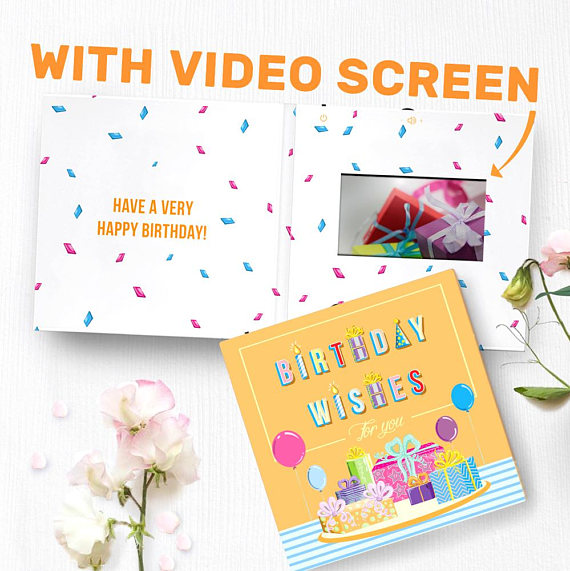 Happy Birthday Card With Video Screen Birthday Greeting Etsy Virtual Birthday Cards Birthday Greeting Cards Unique Birthday Cards