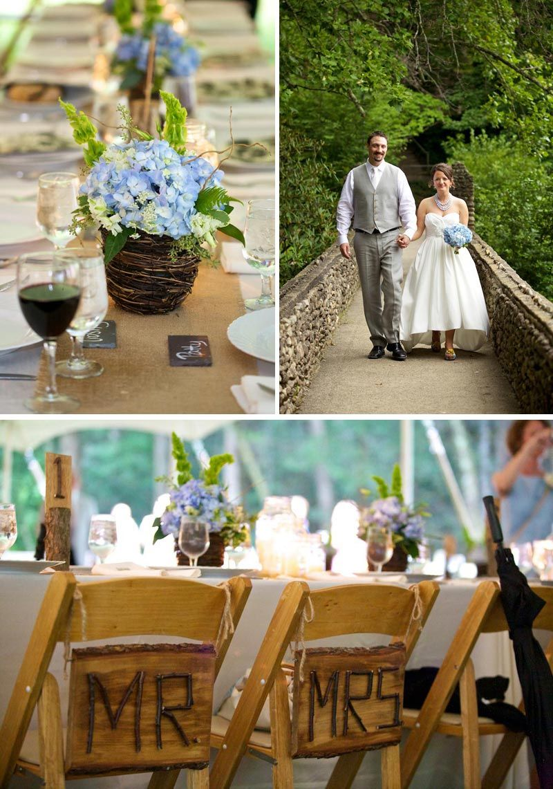 Country Western Wedding Ideas Burlap Table Runners Blue Hydrangea Bouquet And Wooden Seating Signs