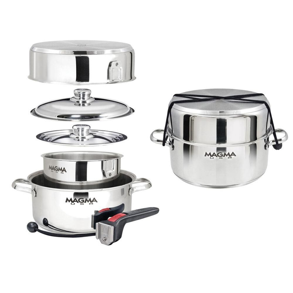 Magma 7 Piece Nesting Stainless Steel Induction Cookware Set In