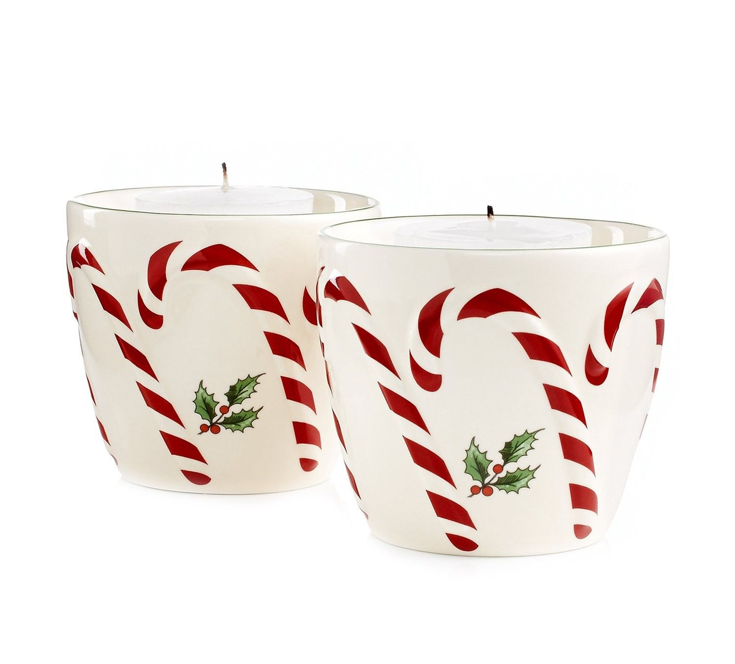 Spode Christmas Tree Candle Holder: Serveware Peppermint Embossed Candy Votives With Tealights