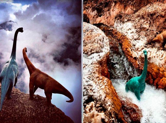 Viajante transforma suas fotografias na estrada usando dinossauros de brinquedo