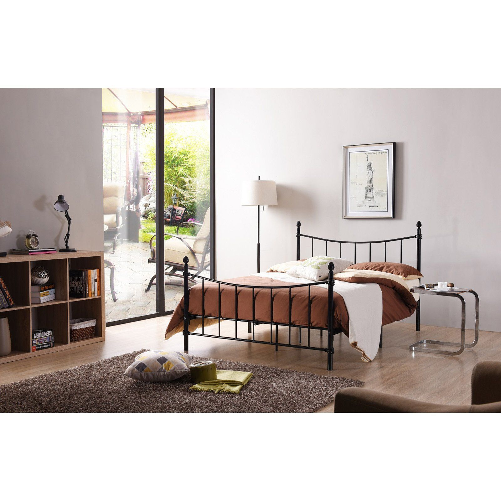 Hodedah Imports Curved Metal Poster Bed Poster Bed Metal Beds Bed