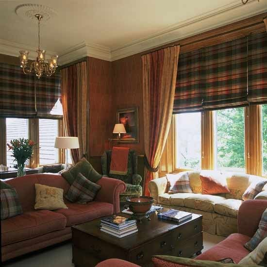 picturesque charming living room curtains ideas | Tartan Living room - Add some Highland charm to your ...
