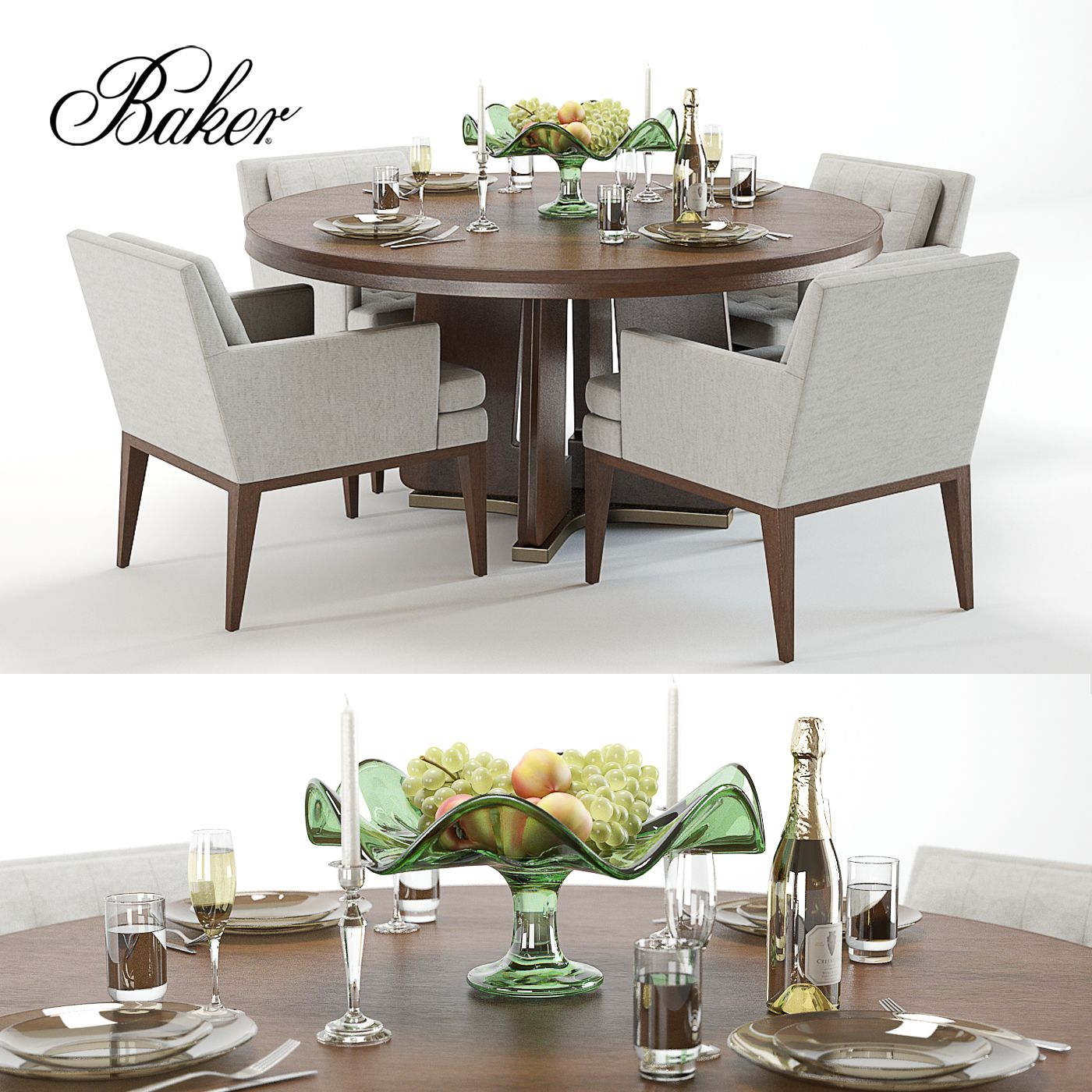 Baker ceremony circle table ojai chairs circle table side 3d model baker ceremony circle dining table ojai side chair and decor sxxofo