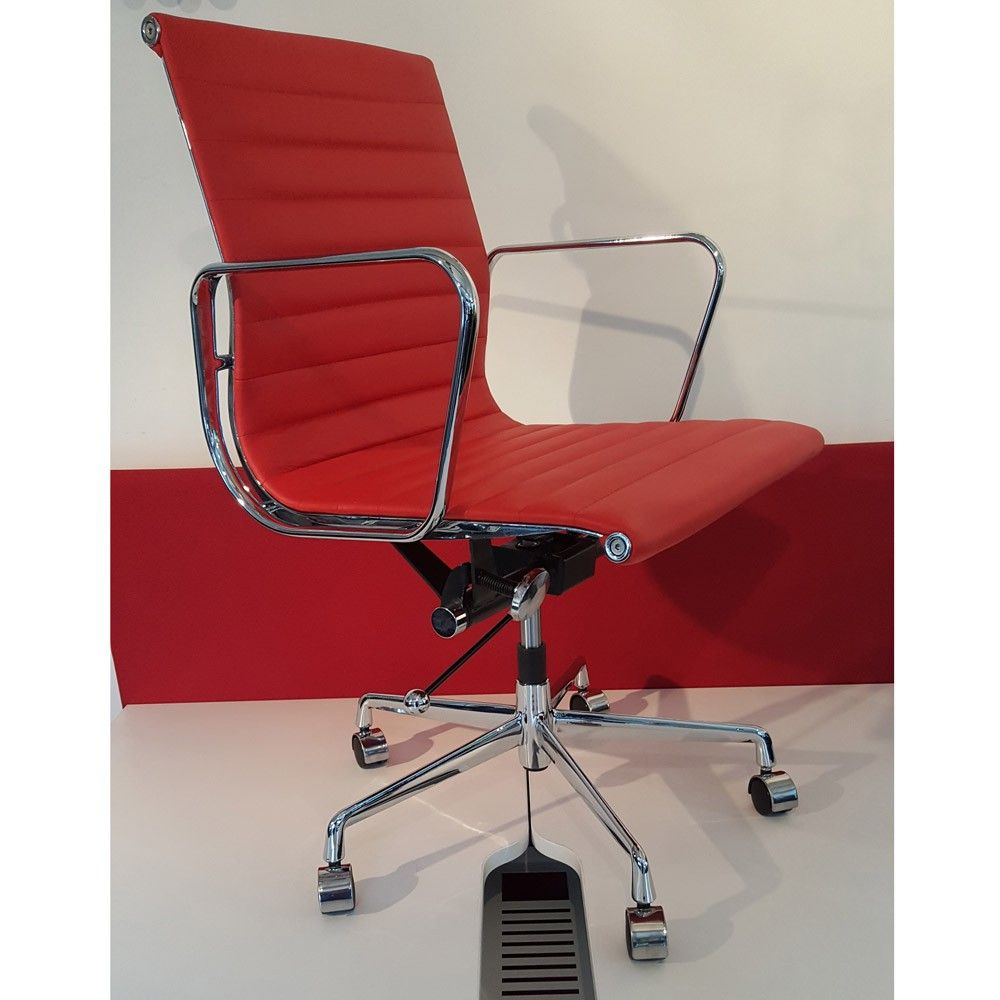 Eames Style Ribbed Leather Office Chair Red Next Day Delivery Eye Catching