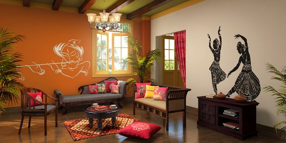 Customize Indian Ethnic Living Room designs online: Buy Indian ...