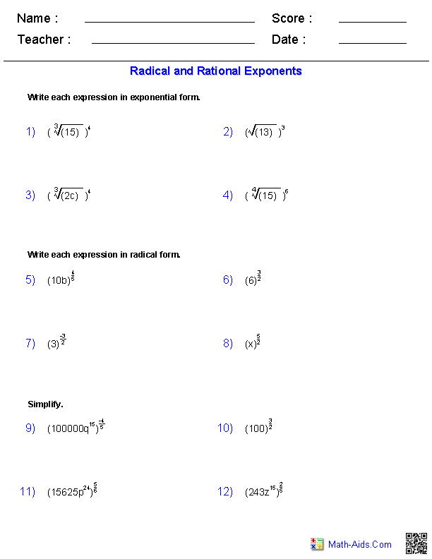 Radical and Rational Exponents Worksheets | Math-Aids.Com ...