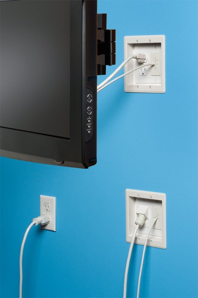 Arlington Tvbra2k 1 In Wall Wiring Kit Pre Wired Tv Bridge 2 Gang Boxes White 1 Pack Switch And Outlet Plates Amazo Hide Cables Wall Mounted Tv Tv Wall