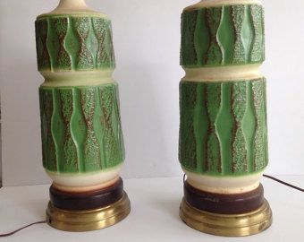 Table Lamps Vintage 1960s 1970s Textured Ceramic by bythewayside