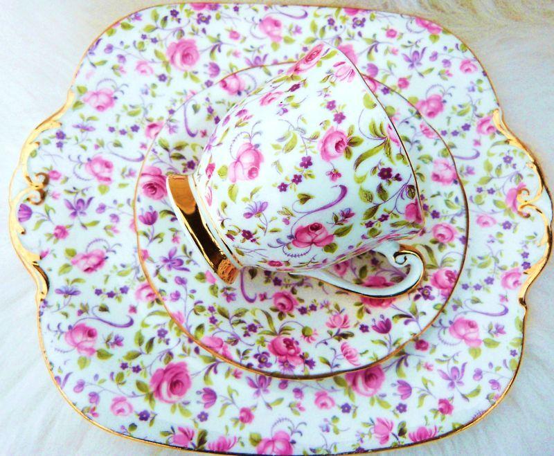 Windsor Chintz Trio Roses X3 Cake Plate Server Tea Cup