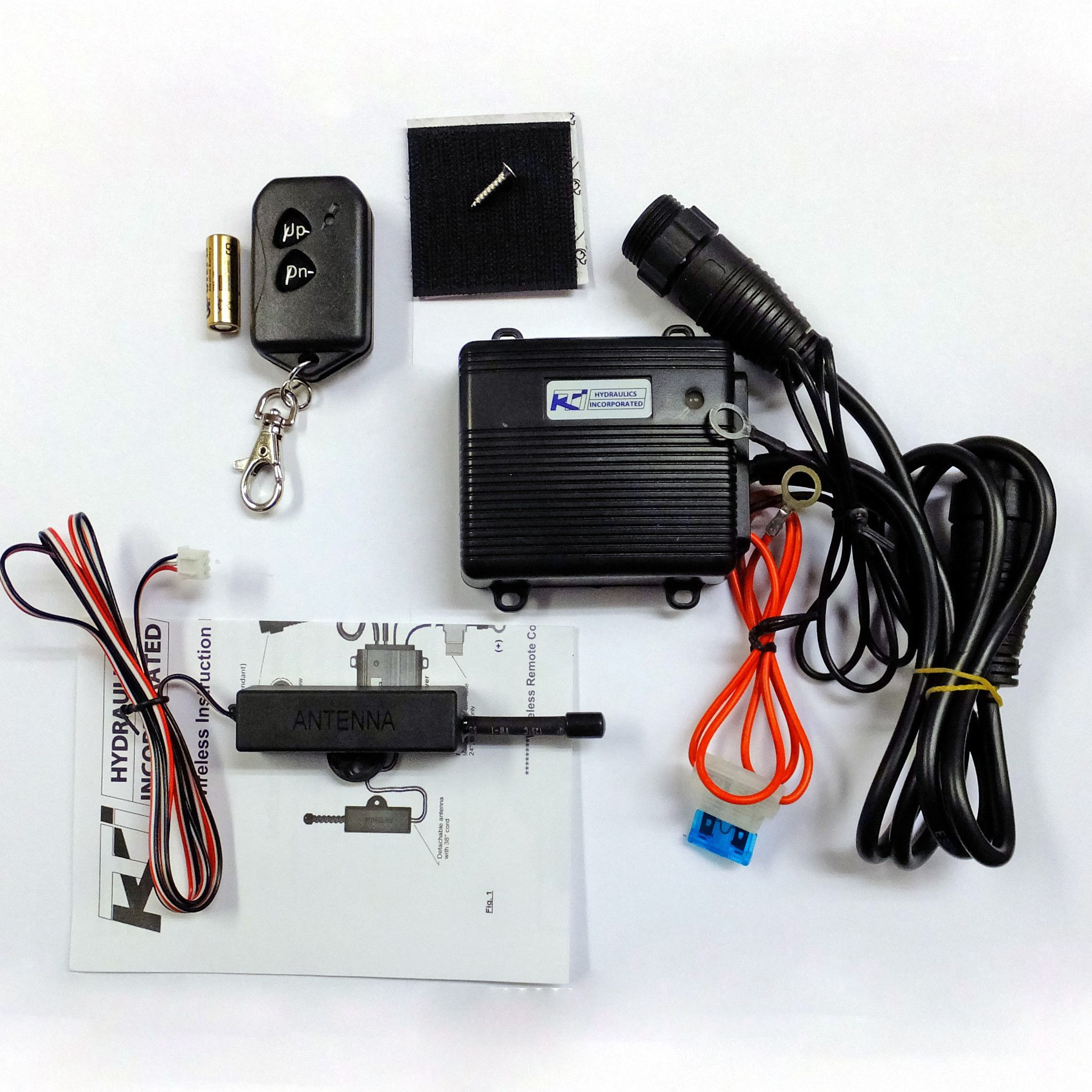 "Part #: OTP-KWR-0003 Description: (1) KTI easy install wireless dump trailer  remote kit. This kit features an easy ""screw in"" style harness that plugs  ..."