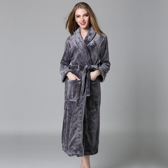 Plus size winter couples bathrobes for women quality thicken robes coral velvet  kimono robes women long-sleeved dressing gown a4cb5c476