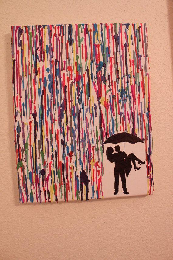 Handmade melted crayon art couple kissing von for Crayon diy canvas