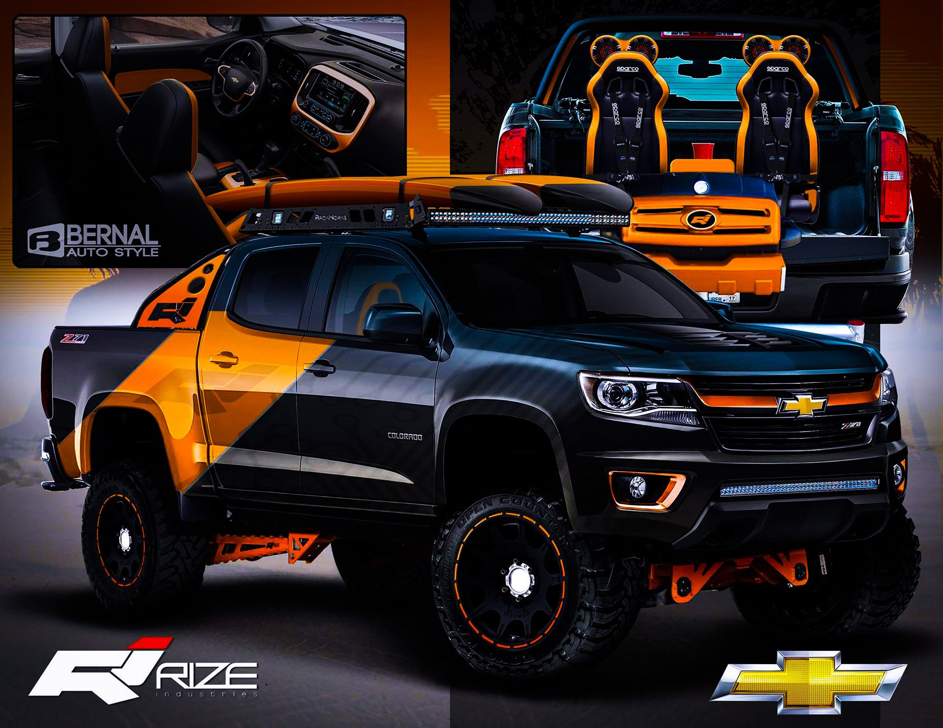 colorado chevy trucks chevrolet lifted graphics vinyl 4x4 gmc canyon mods jeep custom bernal sema proposal rize industries matt truck