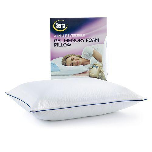 Serta 2 In 1 Reversible Gel Memory Foam Pillow Set Of 2 Ebay Memory Foam Pillow Foam Pillows Pillows