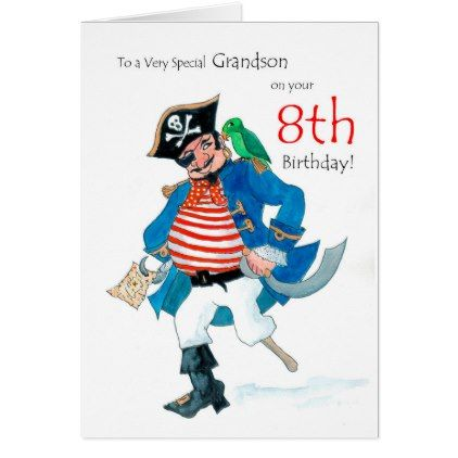 Fun Pirate 8th Birthday Card For Grandson