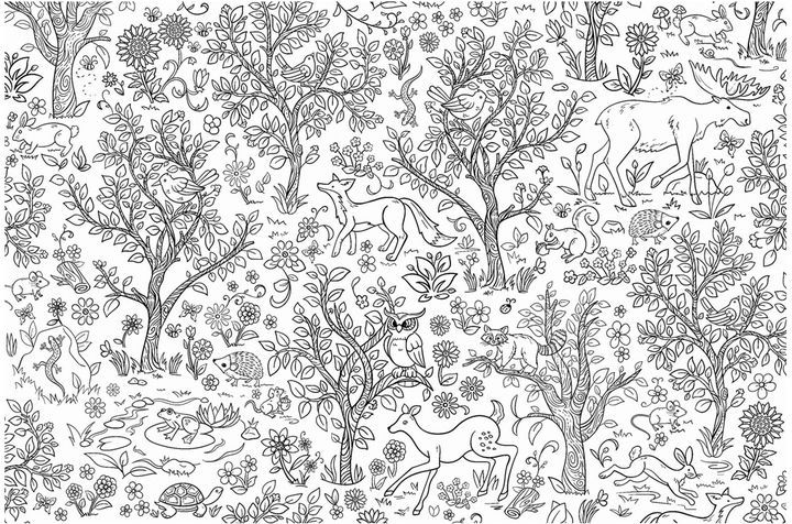 Wilderness Coloring Wall Mural | Wall murals and Products