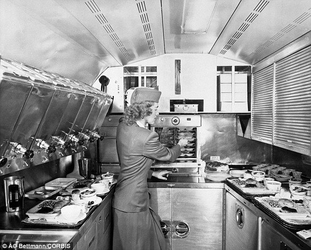 Real Meals: A stewardess prepares meals on a Pan Am Clipper in 1948