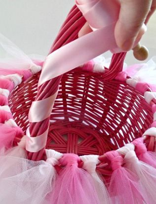 Wrap the easter basket handle with ribbon sweet baby girl wrap the easter basket handle with ribbon negle Images