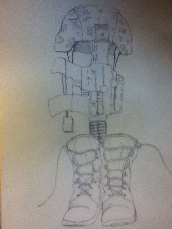 Line Drawing Gun : Boots helmet and gun line drawing my art other