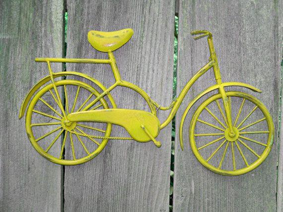 Bicycle Wall Art / Yellow Wall Decor / Metal Bicycle / Metal Wall ...