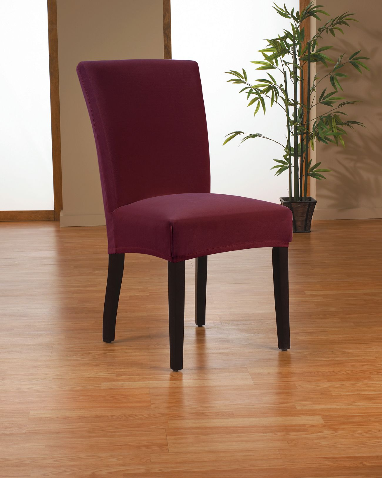 Loving This Wine Velvet Stretch Dining Chair Cover On