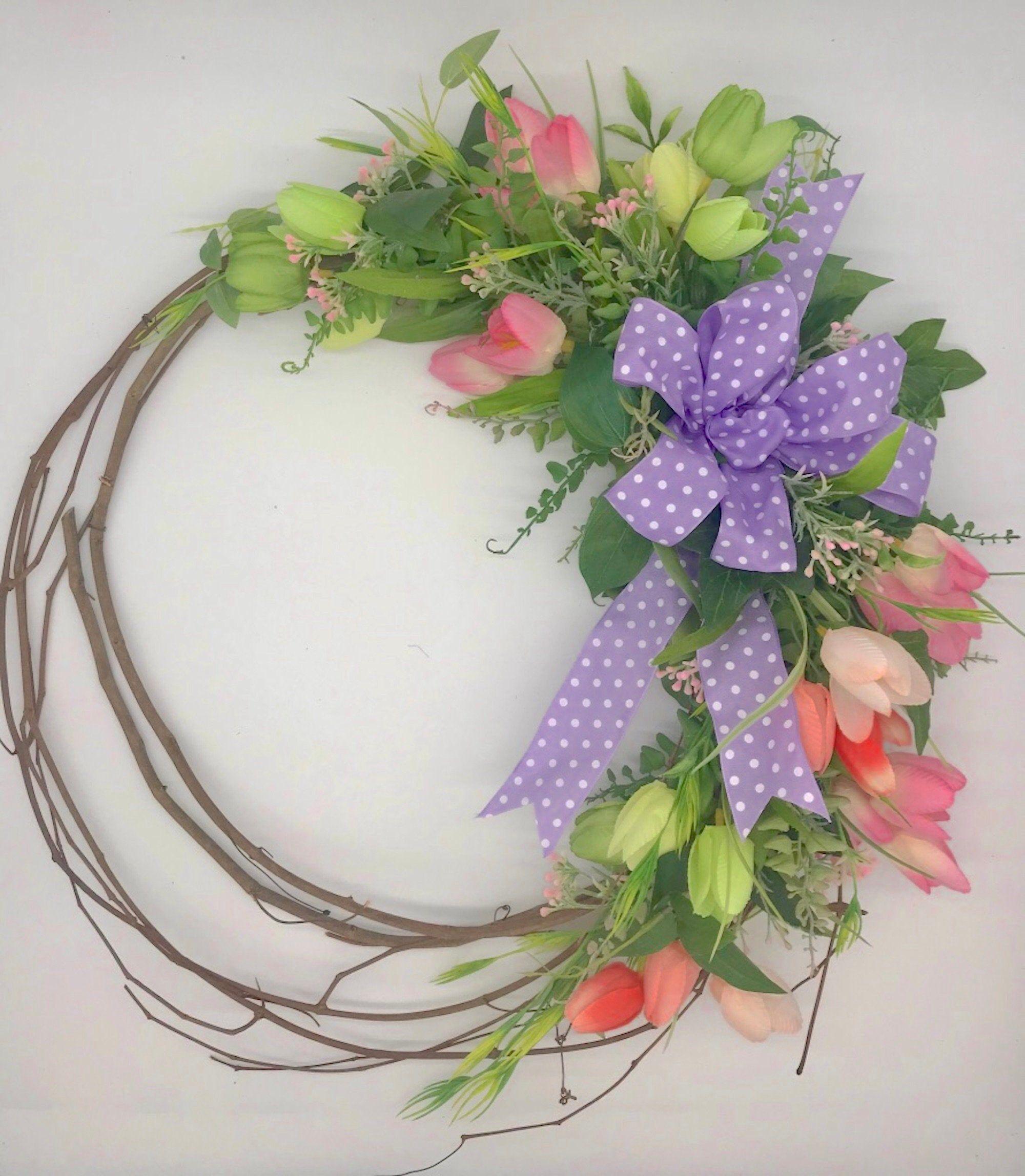 Photo of Tulip Wreath, Spring Hoop Wreath, Modern Wreath, Simple Grapevine Wreath, Spring Tulip Wreath for Front Door, Simple Farmhouse Wreath