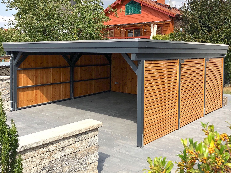 Flachdach Carport Aus Holz In Metall Optik Anstrich Ral7016 Anthrazitgrau In 2020 Carport Holz Flachdach Carport