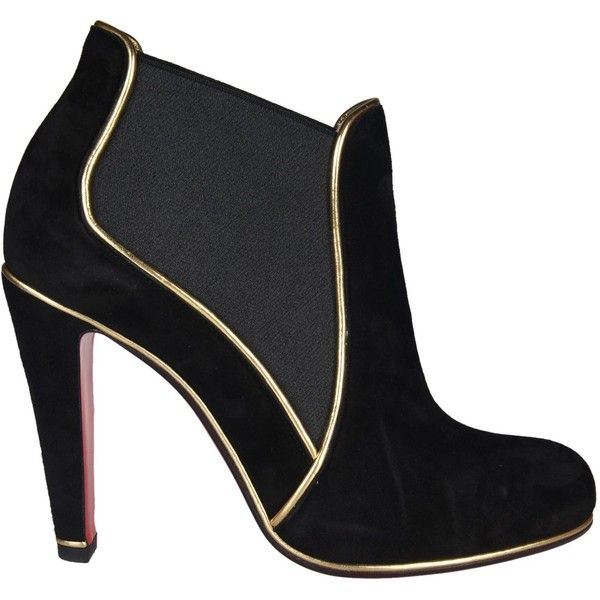 Christian Louboutin Loulou Chelsea Ankle Boots (1.605 BRL) ❤ liked on Polyvore featuring shoes, boots, ankle booties, black, chelsea bootie, beatle boots, black booties, christian louboutin ankle booties and black chelsea ankle boots