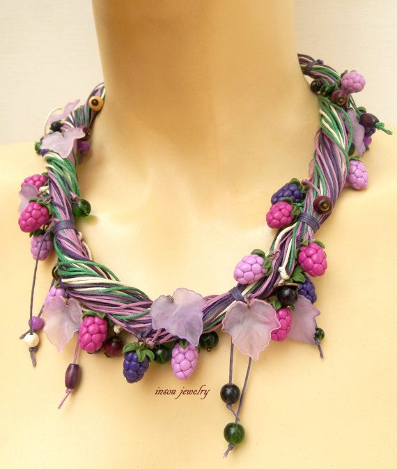 Statement Necklace Boho Necklace Gift For Her Flower Necklace Bib Necklace Charm Necklace Purple Necklace Berry Jewelry Handmade Flowers