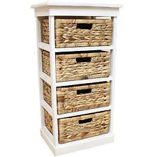 WHITE SEAGRASS BASKET DRAWER CHEST STORAGE CABINET/UNIT HOME/LOUNGE/BATHROOM