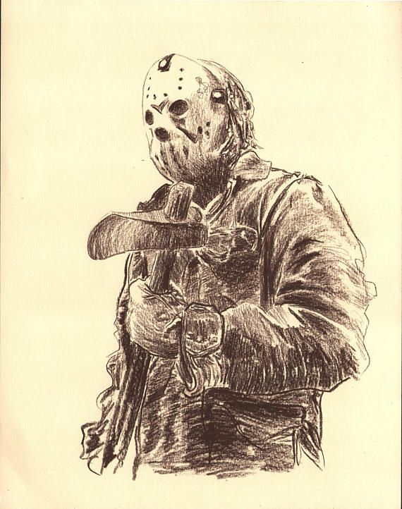 Friday The 13th Jason Voorhees Fanart Geek Drawing Charcoal