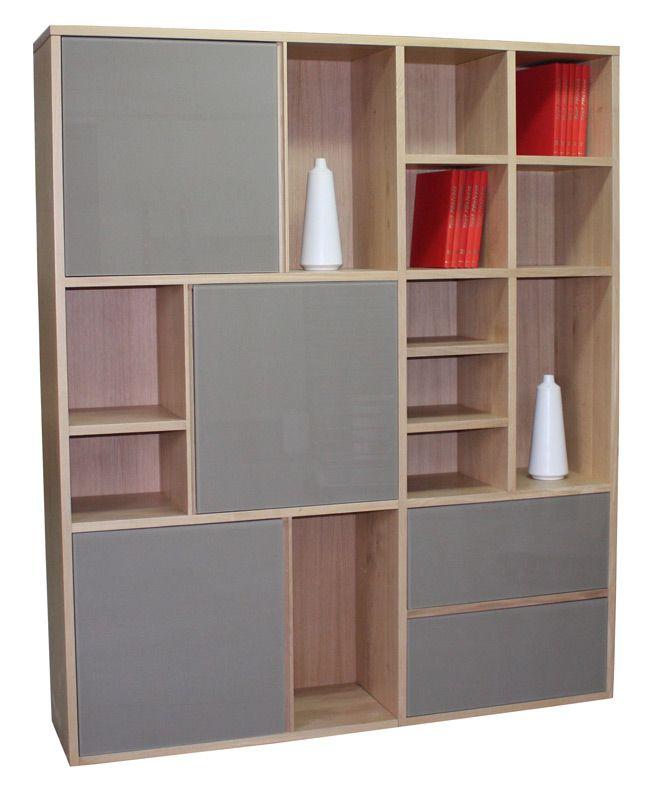 51430-Bibliothèque alvéoles 3 portes 2 tiroirs Chêne blanchi et - Renovation Meuble En Chene