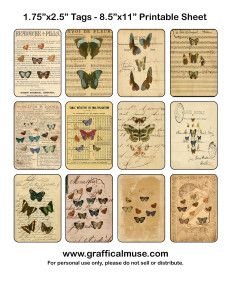 image relating to Free Printable Ephemera named Free of charge Printable Tags Butterfly Ephemera In this article are some no cost