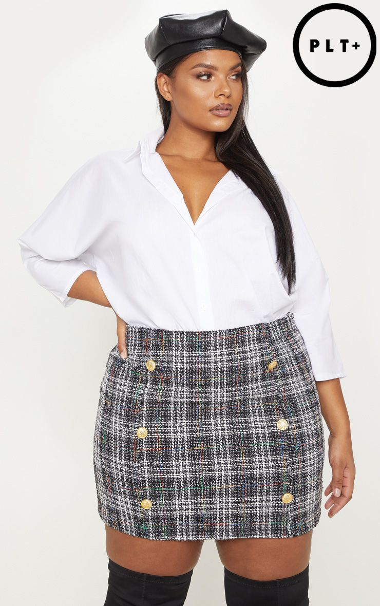 Plus Red Tweed Button Mini Skirt 3
