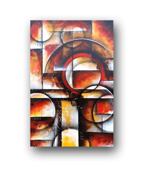 Circles Squares Painting On Canvas Red Orange Black