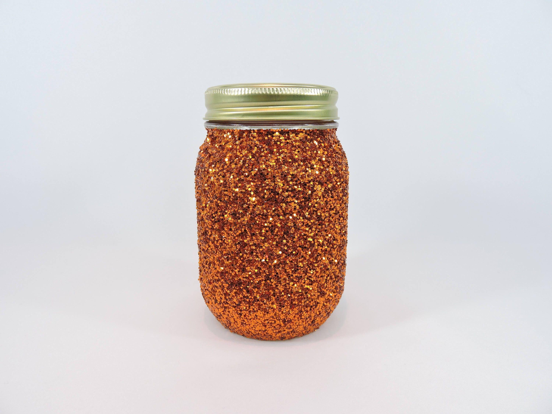 Copper Orange Glitter Mason Jar for Fall Wedding Decor, Fall Baby ...