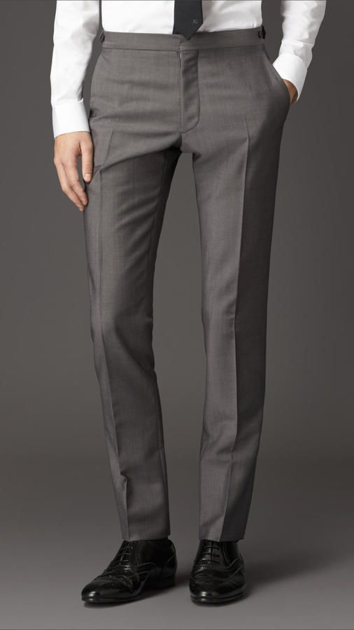 395 Burberry Slim Fit Wool Mohair Trousers Formal Trousers For Men Mens Wool Pants Mens Dress Pants