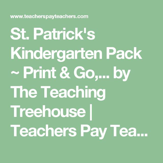 St. Patrick's Kindergarten Pack ~ Print & Go,... by The Teaching Treehouse | Teachers Pay Teachers
