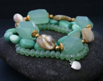 Beaded Bracelet Set Green Gold and Brown Stack by InspiredTheory