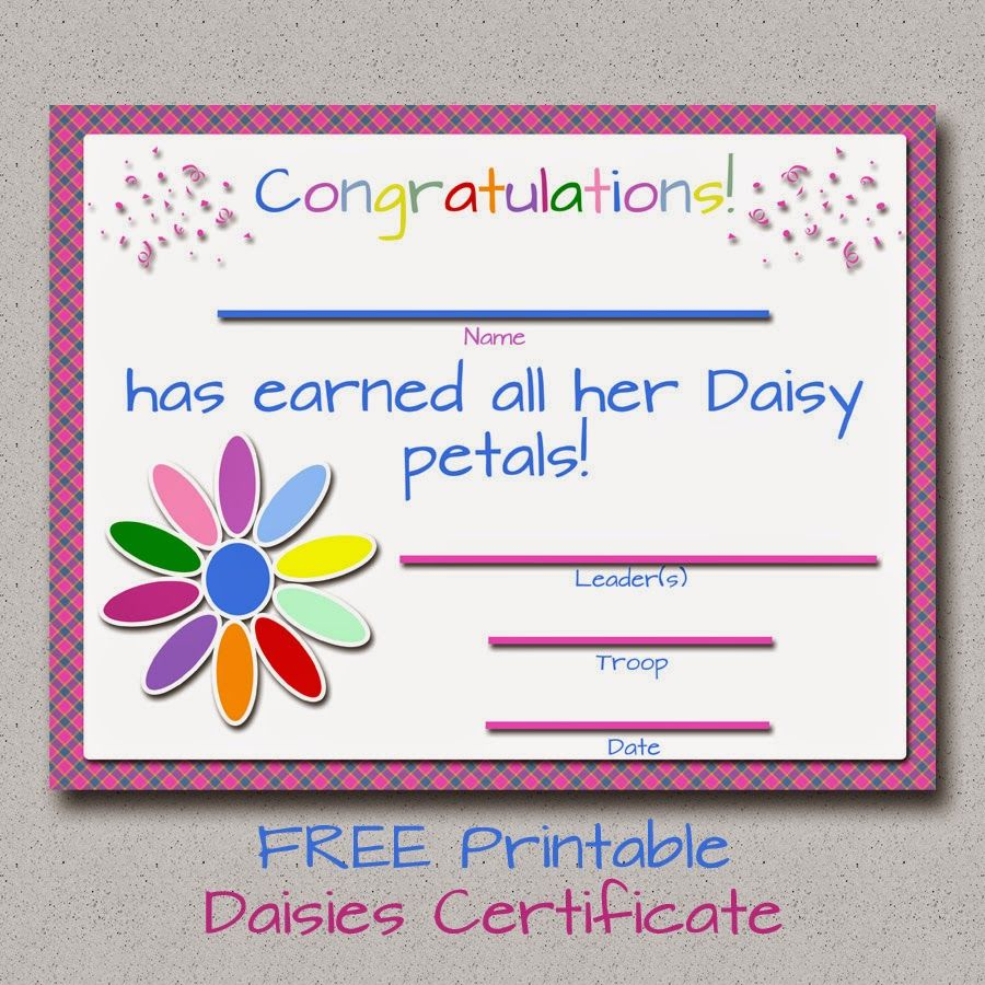 Girl Scouts: FREE Printable Daisy Petals Certificate ...