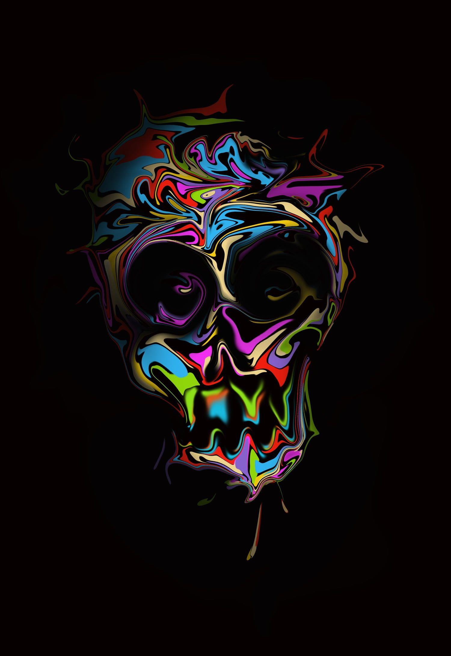 Multicolored Skull Artwork Digital Art Skull Simple Background
