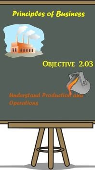 This is Principles of Business Unit 2.03.  However, the topic goes into detail covering production and operations for businesses. Topics include:        Types of Manufacturing        Planning Process        Included in the .zip file:1) Lesson Plan2) Guided Notes3) Functions of Management ActivityStudent will demonstrate knowledge of what actions are performed in the functions of management.